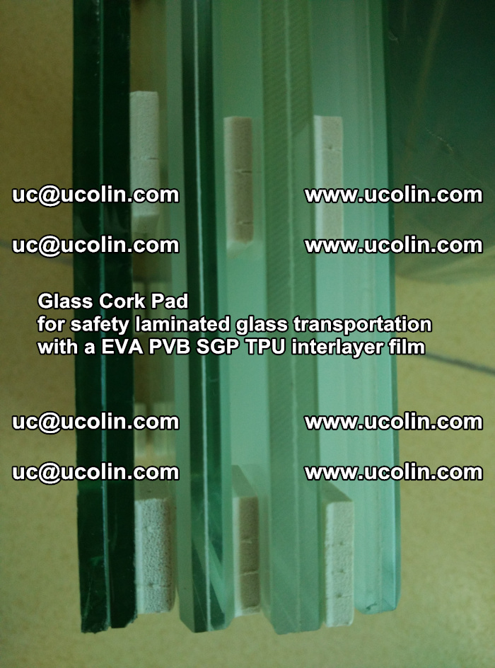EVA Glass Cork Pad for safety laminated glass transportation with a EVA PVB SGP TPU interlayer film (1)